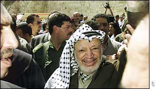 Palestinian leader Yasser Arafat in Bethlehem, May 2002