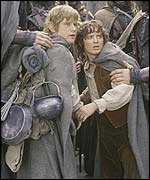 Characters Sam and Frodo in The Two Towers