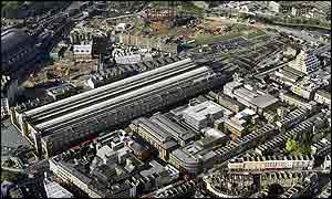 Aerial view of King's Cross station