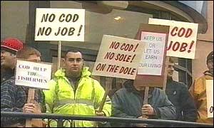 Fishermen protesting in St Austell