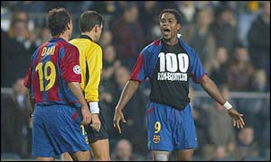 Dutchman Patrick Kluivert celebrates as he restores Barcelona's one-goal advantage in the 35th minute