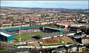 Dundee's Dens Park (left) and Dundee United's Tannadice
