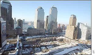 A thin layer of snow covers the ground at the site of the World Trade Center in New York