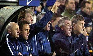 The Leeds bench look on in frustration
