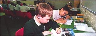 School pupils writing