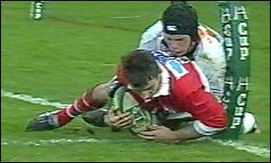 Bryn Cunningham appears to have tackled Cassin into touch for Biarritz's controversial third try
