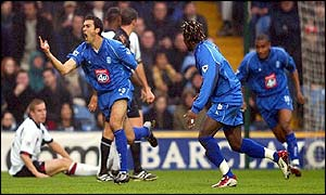 Birmingham striker Jovan Kirovski (left) celebrates putting his side 1-0 ahead