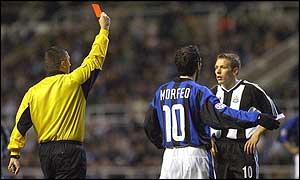 Craig Bellamy is sent off against Inter Milan