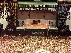 Photo of Wembley Stadium midway through the Live Aid concert