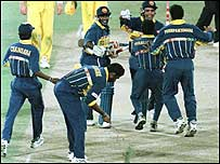 Captain Arjuna Ranatunga is mobbed by his team