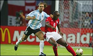 Gabriel Batistuta (left) in action against England