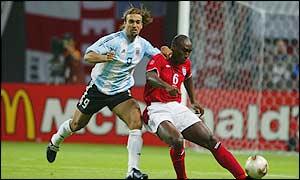 Gabriel Batistuta (left) in action against England