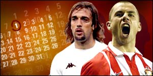 Gabriel Batistuta (left) and Kevin Phillips are among the players tipped for Premiership moves when the transfer window reopens on 1 January