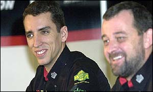 Justin Wilson and Minardi boss Paul Stoddart