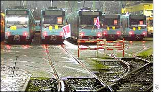Trams with union flags in Frankfurt