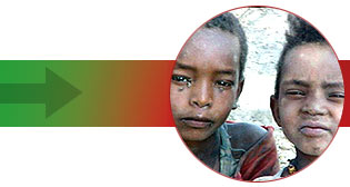 Children in village of Dir Sakar in Ethiopia which is facing famine