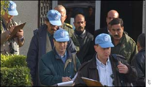 UN inspectors at a missile factory outside Baghdad