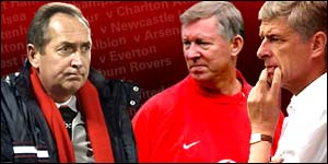 Liverpool boss Gerard Houllier, Man Utd boss Sir Alex Ferguson and Arsenal manager Arsene Wenger