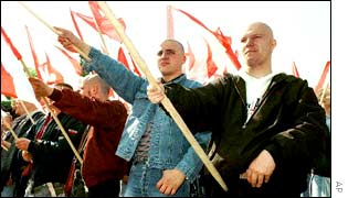 Neo Nazi supporters in Leipzig