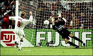 David Batty sees his penalty saved during England's shoot-out defeat to Argentina