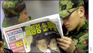 South Korean solider reads a newspaper the day after Roh Moo-hyun's election victory, 20 Dec 2002