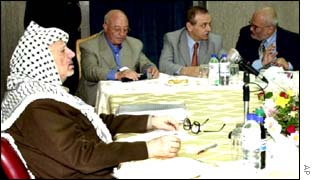 The Palestinian leader Yasser Arafat meeting with Palestinian officials