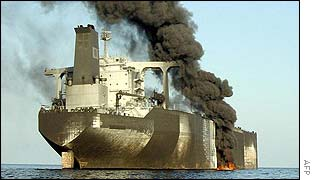 French tanker the Limburg on fire off the coast at al-Mukalla