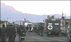 Scene after the helicopter crash
