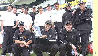 New Zealand players pose at the presentation