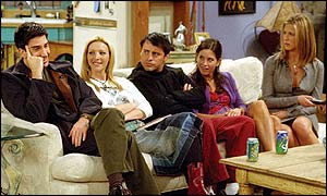 Friends cast members David Schimmer, Lisa Kudrow, Matt LeBlanc, Courteney Cox, Jennifer Aniston