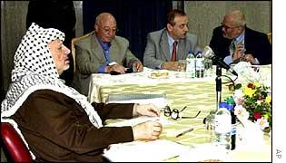 Yasser Arafat at cabinet meeting