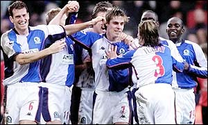 Garry Flitcroft celebrates his goal for Blackburn with his team-mates
