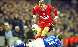 Steven Gerrard's tackle on Gary Naysmith