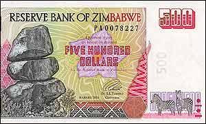 500 Zimbabwe dollars