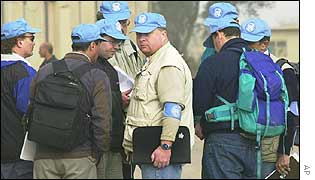 UN inspectors at an Iraqi factory