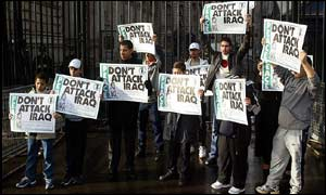 Iraqi children outside the prime minister Tony Blair's official residence, 10 Downing Street, London