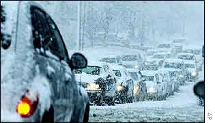 Snow-bound traffic in Tulsa, Oklahoma