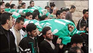 Funeral of Hamas militants Shaman Sobih, front, and Mustafa Fash, rear, on Monday