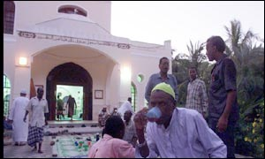 Muslims outside a mosque in Mombasa