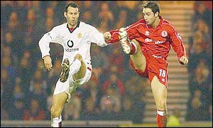 Man Utd's Ryan Giggs and Boro's Mark Wilson