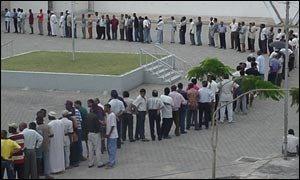 A queue outside a polling station
