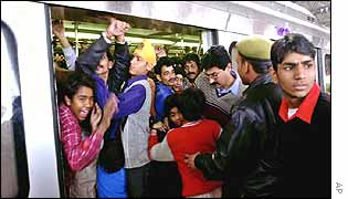 Passengers at Kashmere Gate metro station