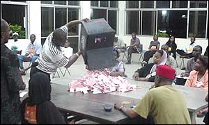 Election officials count votes