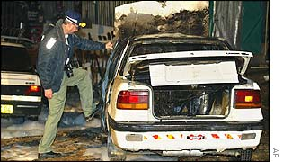 Ruins of a car which exploded in Jerusalem