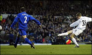 James Milner scores Leeds' second goal in first-half injury-time