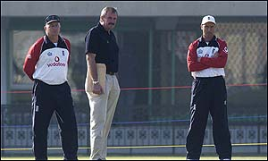 England coach Duncan Fletcher (left), David Graveney (centre) and captain Nasser Hussain