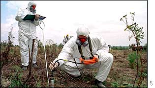 A specialist measures the level of radioactive contamination near Chernobyl