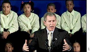 President Bush at a school to announce the Friendship Through Education programme