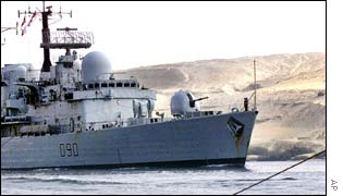 British warship HMS Southampton sails along the Suez Canal