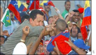 Chavez addressing a crowd at the weekend